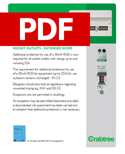 Crabtree - Additional Protection by 30mA RCD - Socket Outlets - PDF